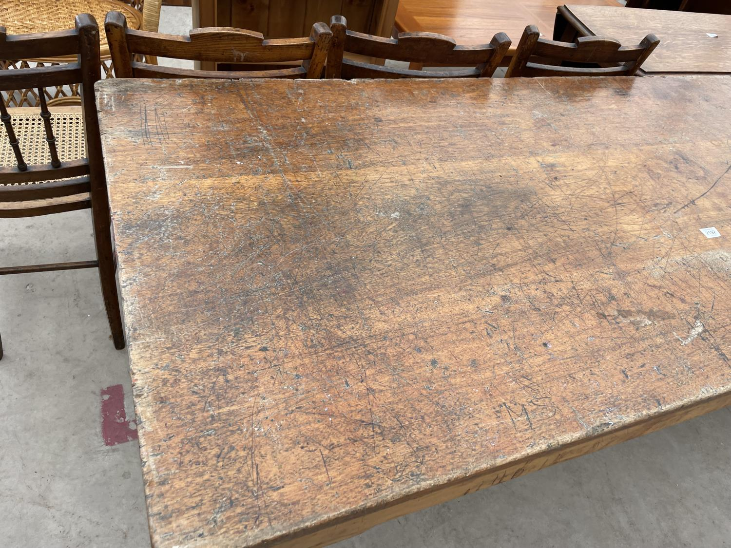 """A MID 20TH CENTURY SCHOOL/FUNCTION TABLE, 72X30"""", STAMPED J.R. TAYLOR, WIGAN (L.C.C.B.P.) - Image 2 of 5"""