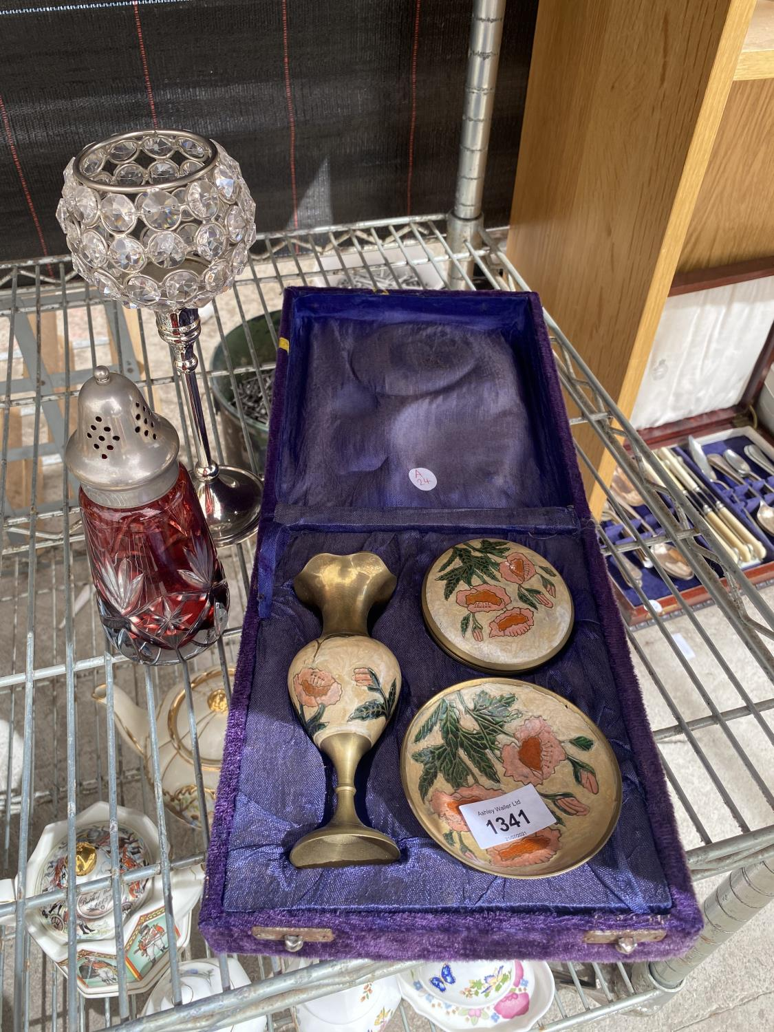 A BOXED BRASS VASE, TRINKET DISH AND TRINKET BOWL, WITH A SUGAR SHAKER AND A CANDLE HOLDER