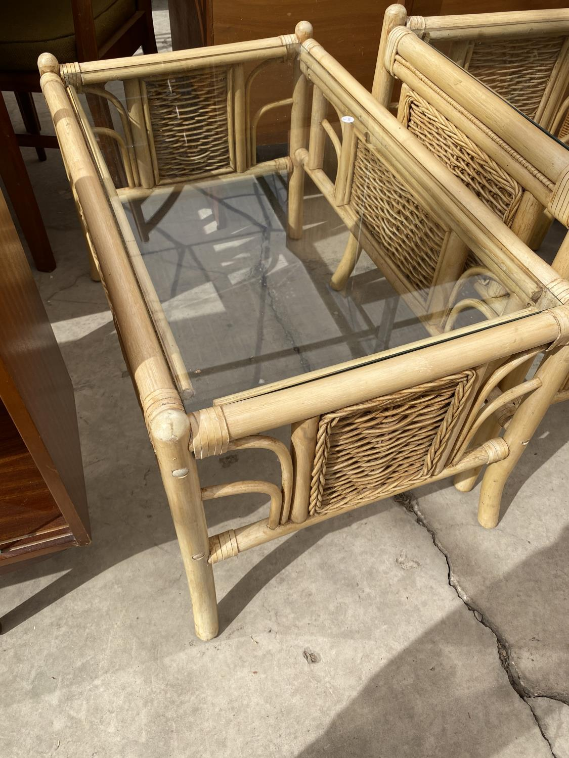 TWO BAMBOO AND WICKER COFFEE TABLES WITH GLASS TOPS - Image 3 of 3