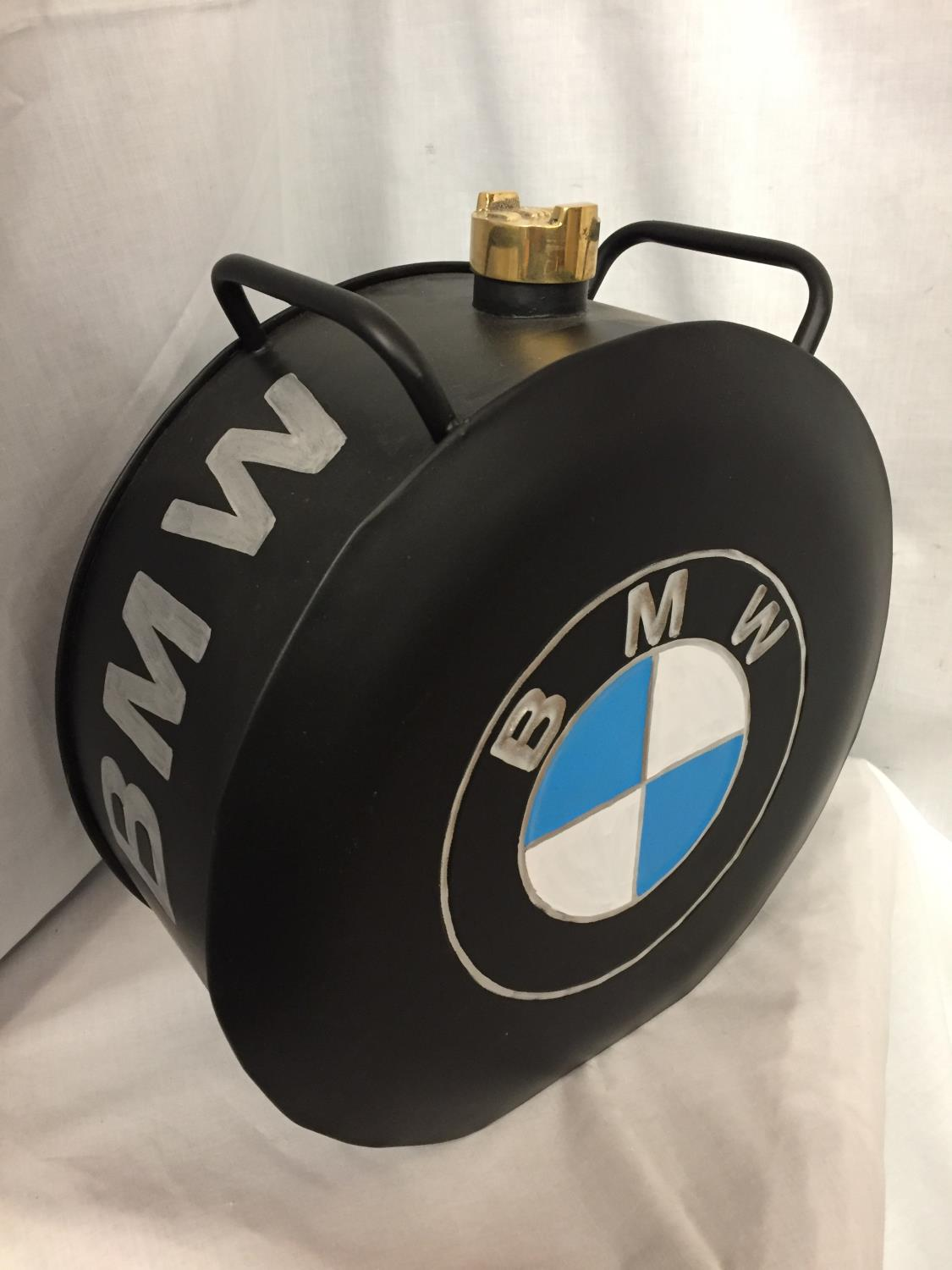 A BLACK BMW PETROL CAN WITH A BRASS TOP - Image 2 of 3