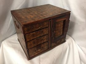 A MINATURE PARQUE WOODEN CHEST WITH DRAWERS 32CM X 26CM