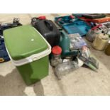 AN ASSORTMENT OF ITEMS TO INCLUDE TWO BOLLARD LIGHTS, A COOLBOX AND WATERING CAN ETC