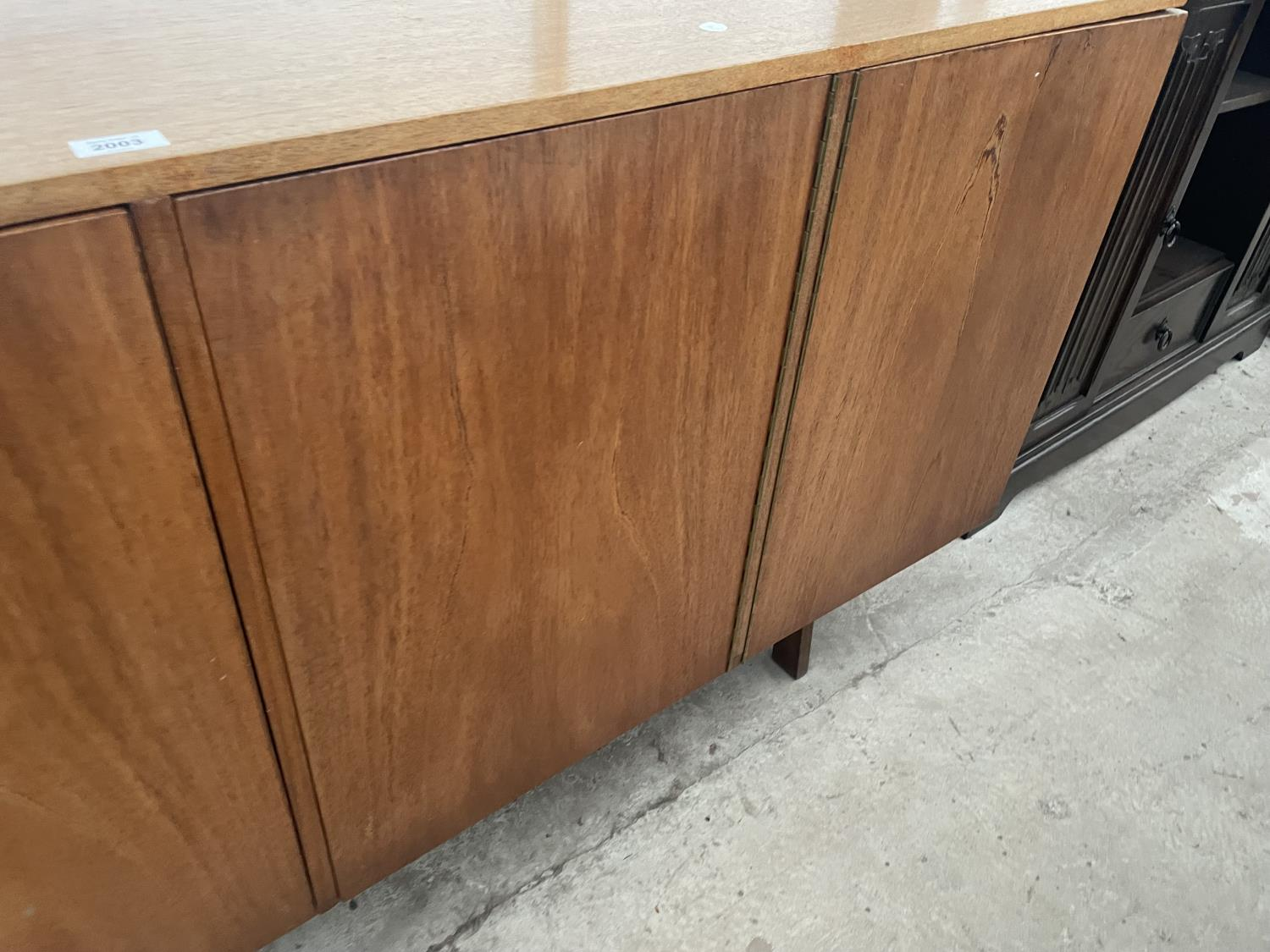"""A RETRO TEAK SIDEBOARD WITH FOUR PUSH RELEASE DOORS, 72"""" WIDE - Image 5 of 8"""