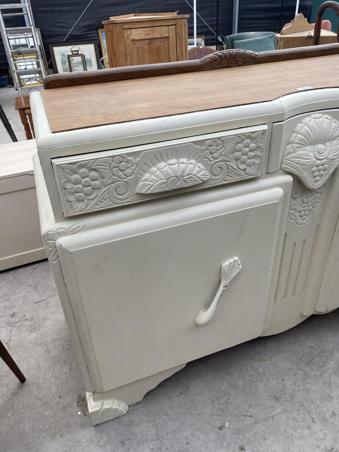 """AN EARLY 20TH CENTURY OAK SIDEBOARD WITH SHABBY CHIC PAINTING, 54"""" WIDE - Image 2 of 4"""