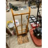 A METAL TWO WHEELED SACK TRUCK