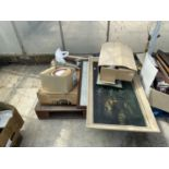AN ASSORTMENT OF HOUSEHOLD CLEARANCE ITEMS TO INCLUDE CERAMIC PLATES AND PRINTS AND PICTURES ETC