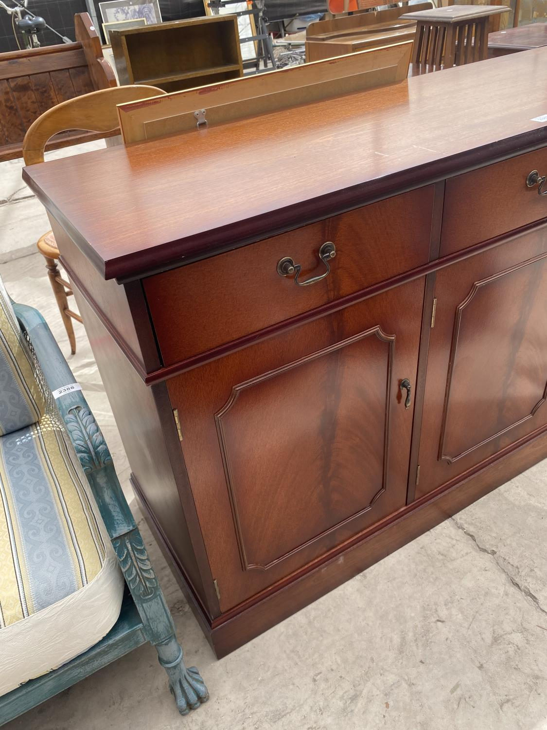 """A MAHOGANY EFFECT SIDEBOARD, 54"""" WIDE - Image 2 of 4"""