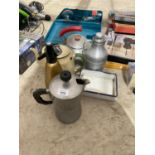 AN ASSORTMENT OF ITEMS TO INCLUDE KETTLES AND A SODA SYPHON ETC