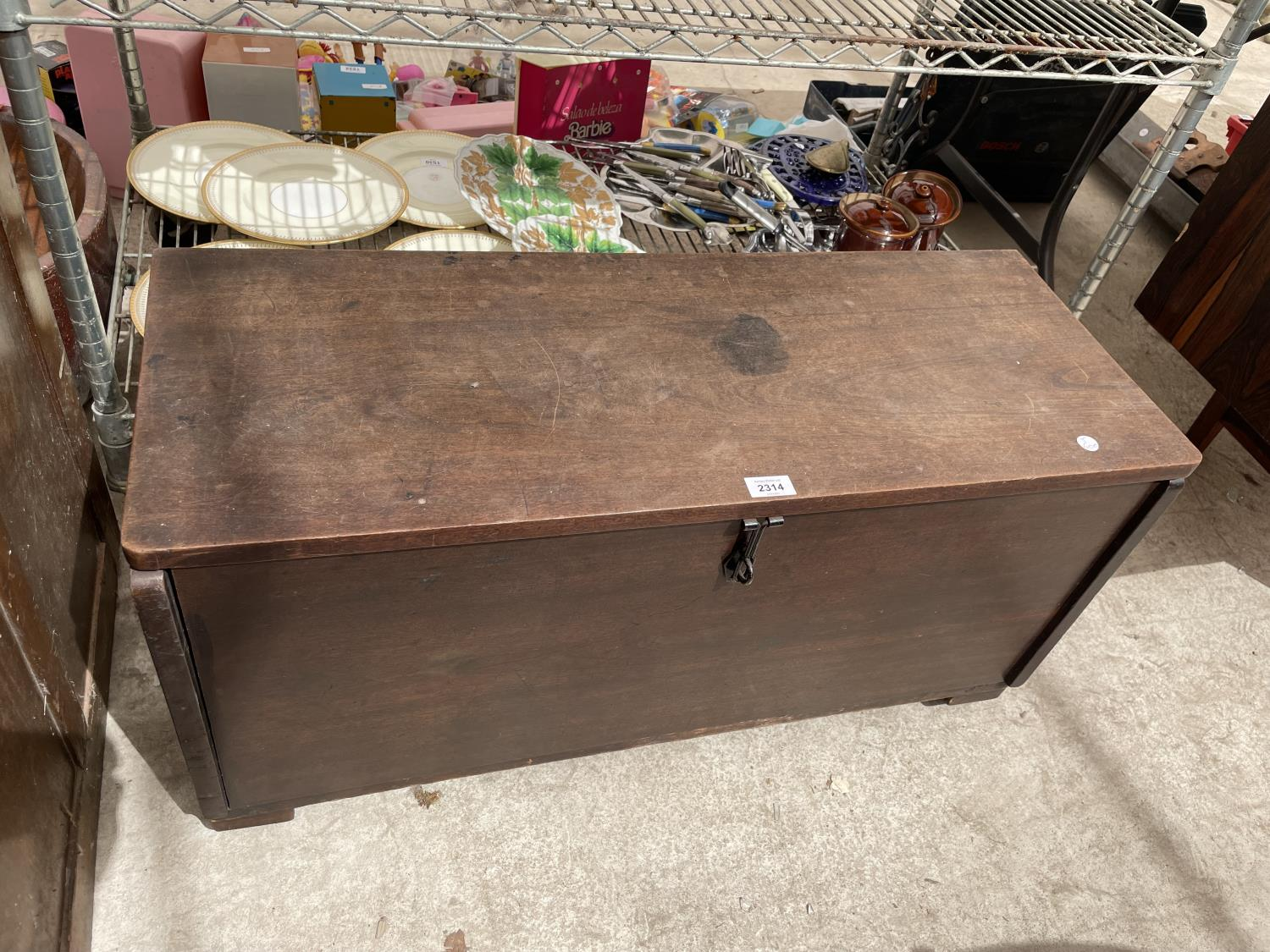 """A MAHOGANY GEORGE III STYLE SWORD CHEST 35"""" WIDE"""