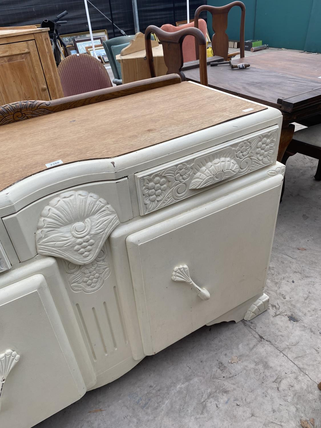 """AN EARLY 20TH CENTURY OAK SIDEBOARD WITH SHABBY CHIC PAINTING, 54"""" WIDE - Image 3 of 4"""