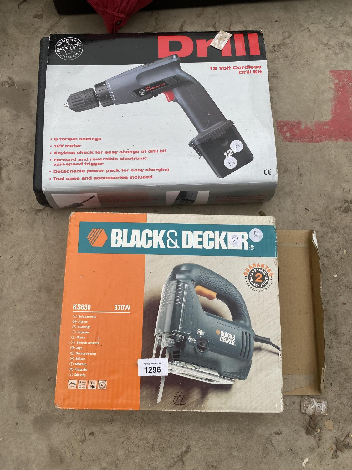 A BLACK AND DECKER JIGSAW AND A BATTERY DRILL