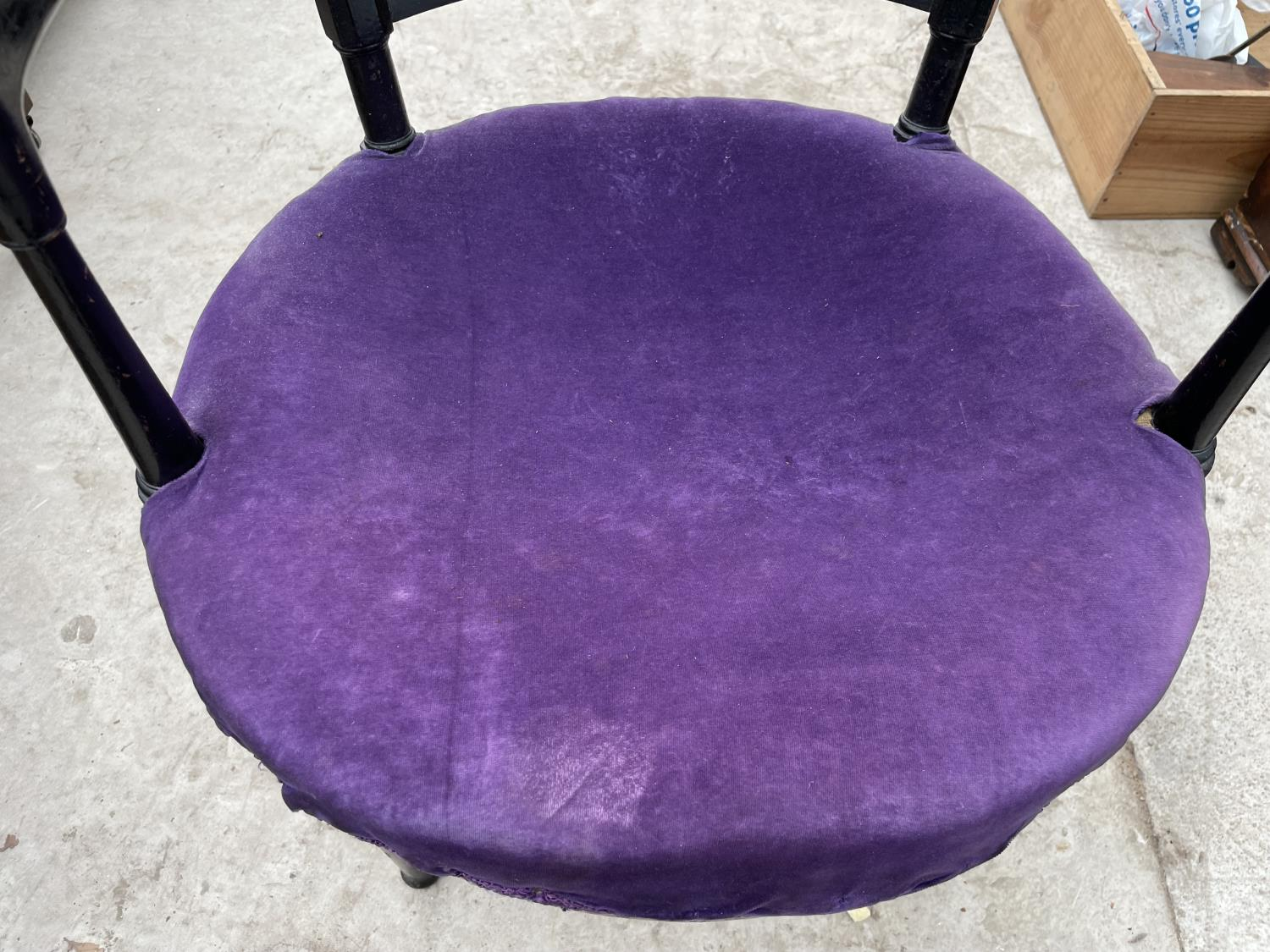 AN ARTS & CRAFTS BLACK PAINTED ELBOW CHAIR A/F - Image 3 of 4