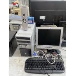 AN ASSORTMENT OF COMPUTER ITEMS TO INCLUDE MONITOR, TOWER AND KEYBOARD ETC