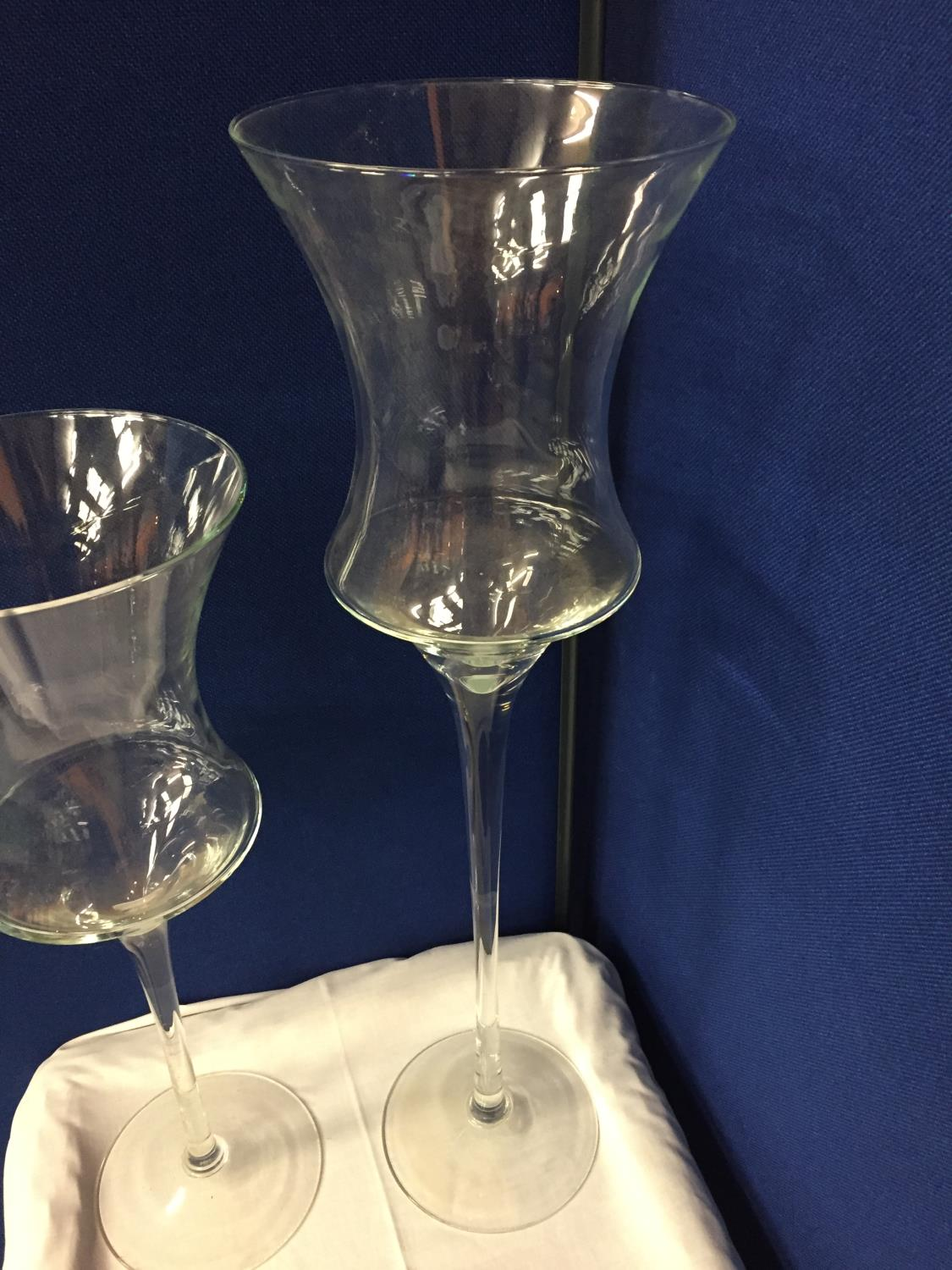 THREE LARGE GLASS CANDLE HOLDERS APPROXIMATE HEIGHTS 70CM 55CM 40CM - Image 4 of 4