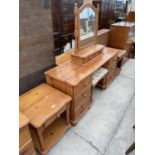 A MODERN PINE DRESSING TABLE WITH MIRROR, STOOL AND TWO BEDSIDE TABLES