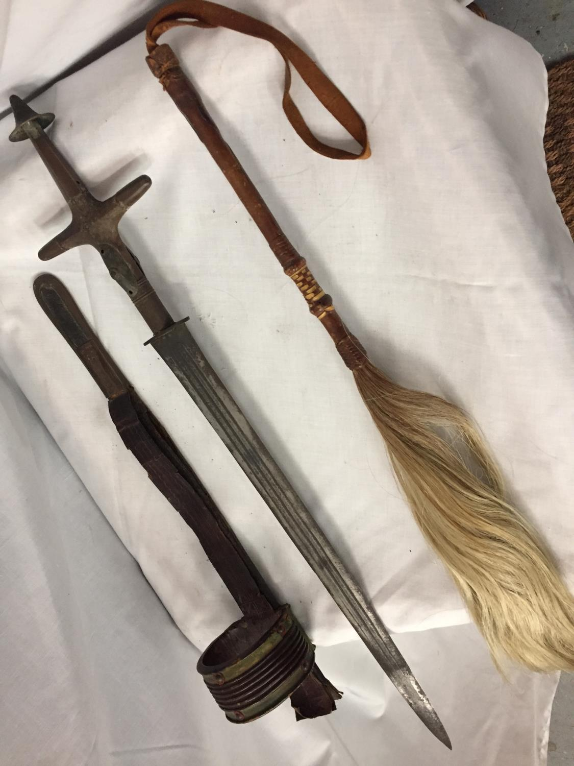A SWORD IN A LEATHER SHEATH AND A VINTAGE LEATHER HORSE HAIR RIDING CROP - Image 6 of 7