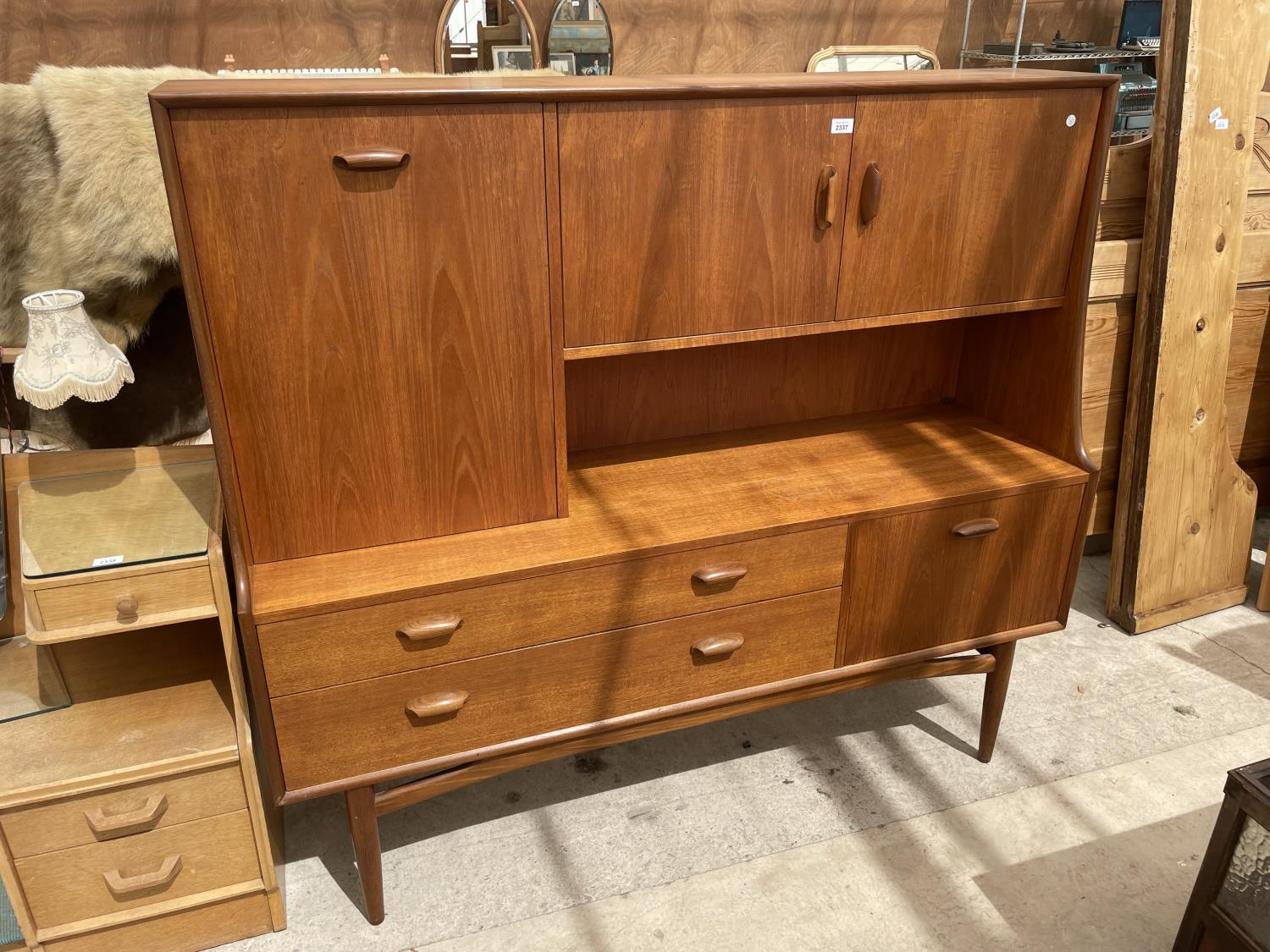 A G PLAN RETRO TEAK SIDEBOARD WITH UPPER CABINET