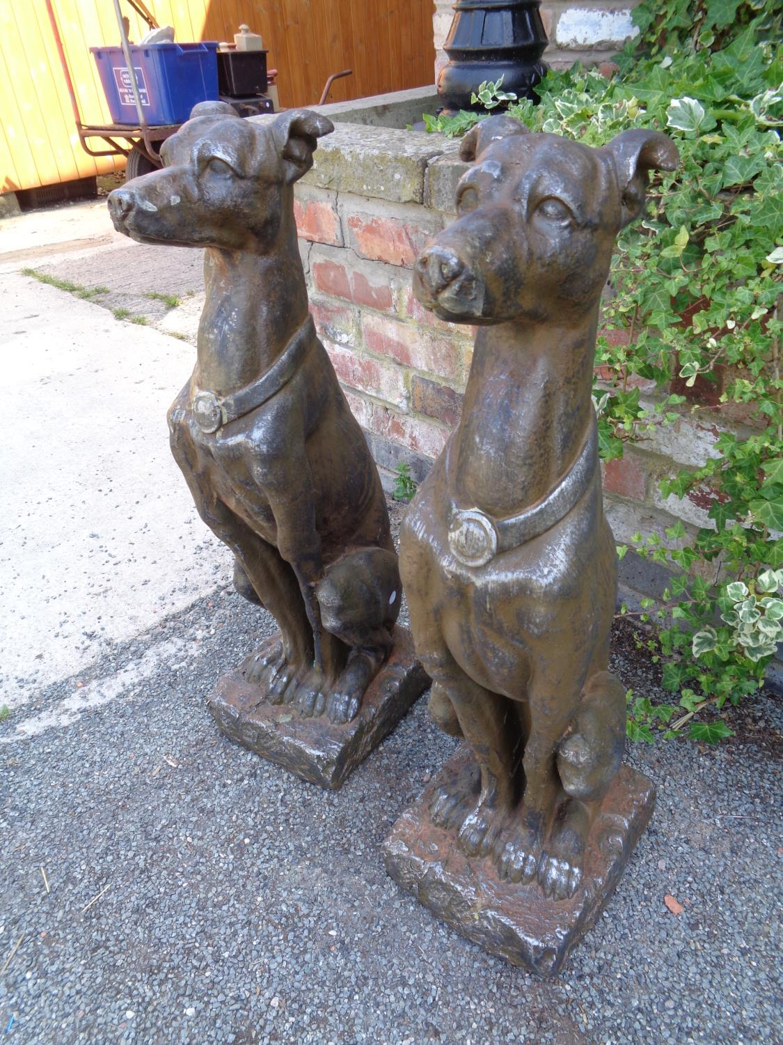 TWO LARGE RESIN TYPE DOG STATUES - Image 2 of 3
