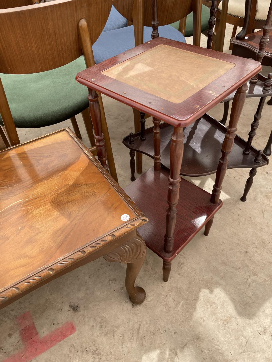 A PASTING TABLE, CORNER WHATNOT, TWO TIER TABLE AND WALNUT COFFEE TABLE - Image 3 of 4