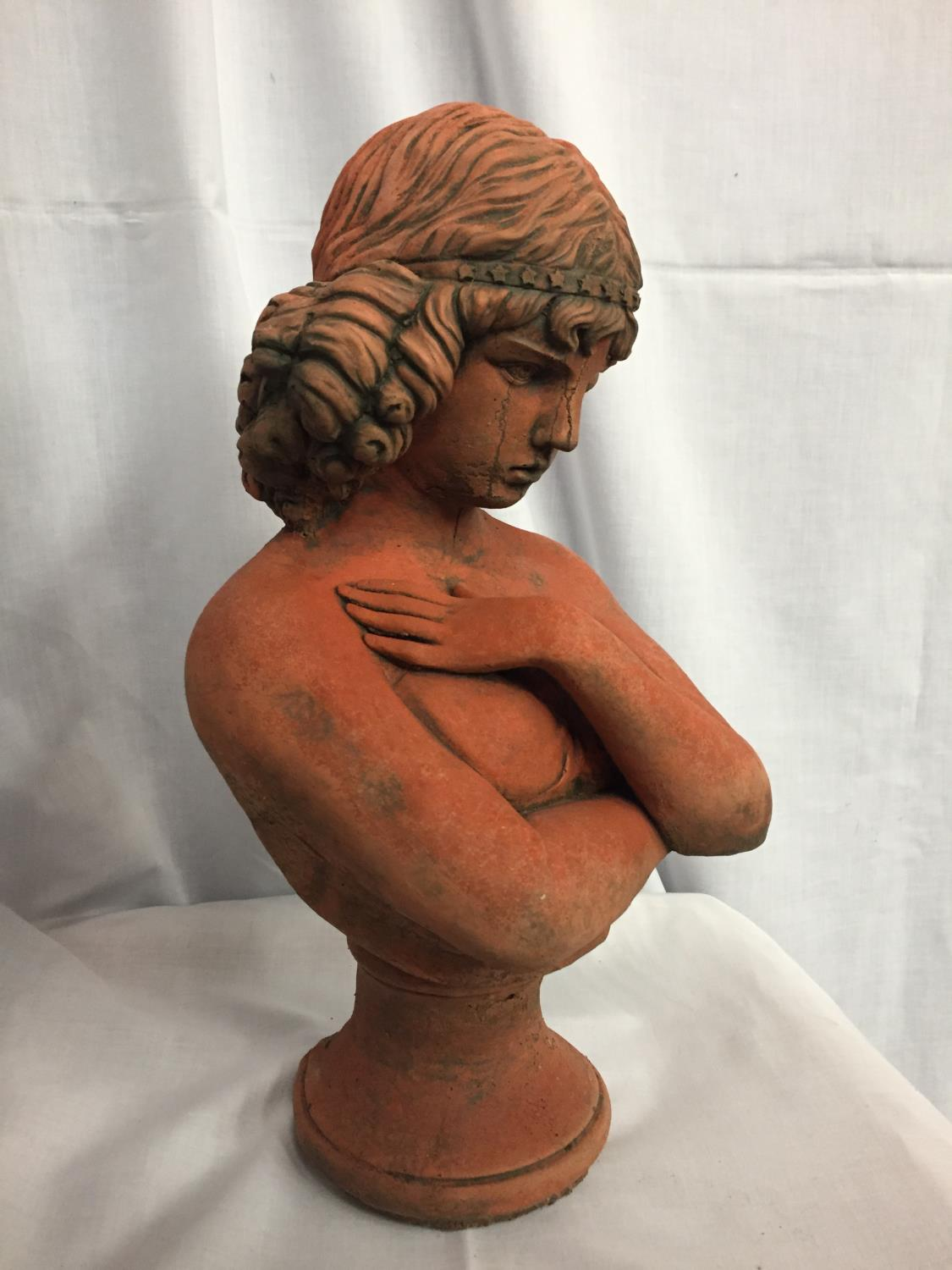 A TERRACOTA BUST OF A LADY - Image 3 of 3