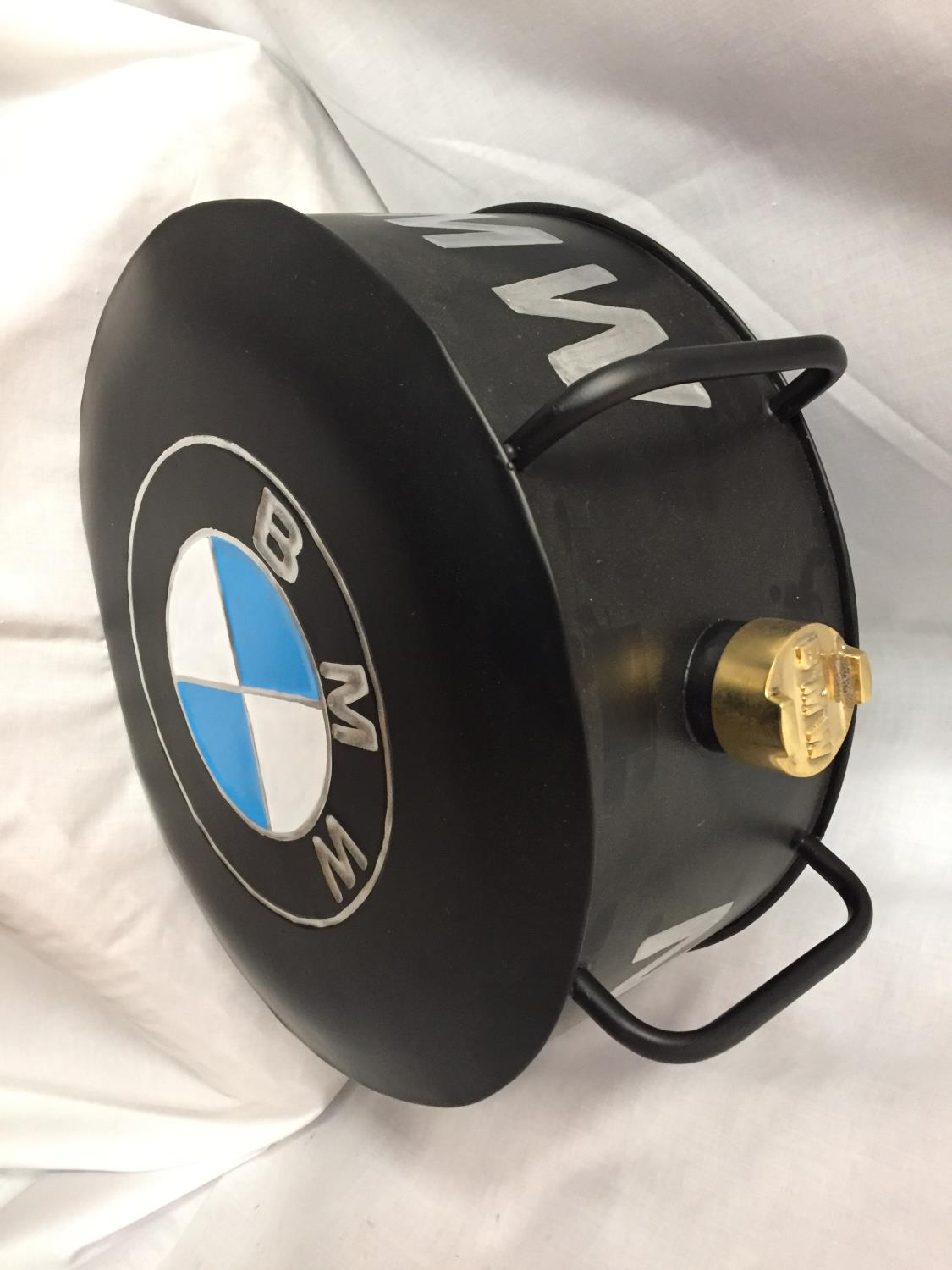 A BLACK BMW PETROL CAN WITH A BRASS TOP - Image 3 of 3