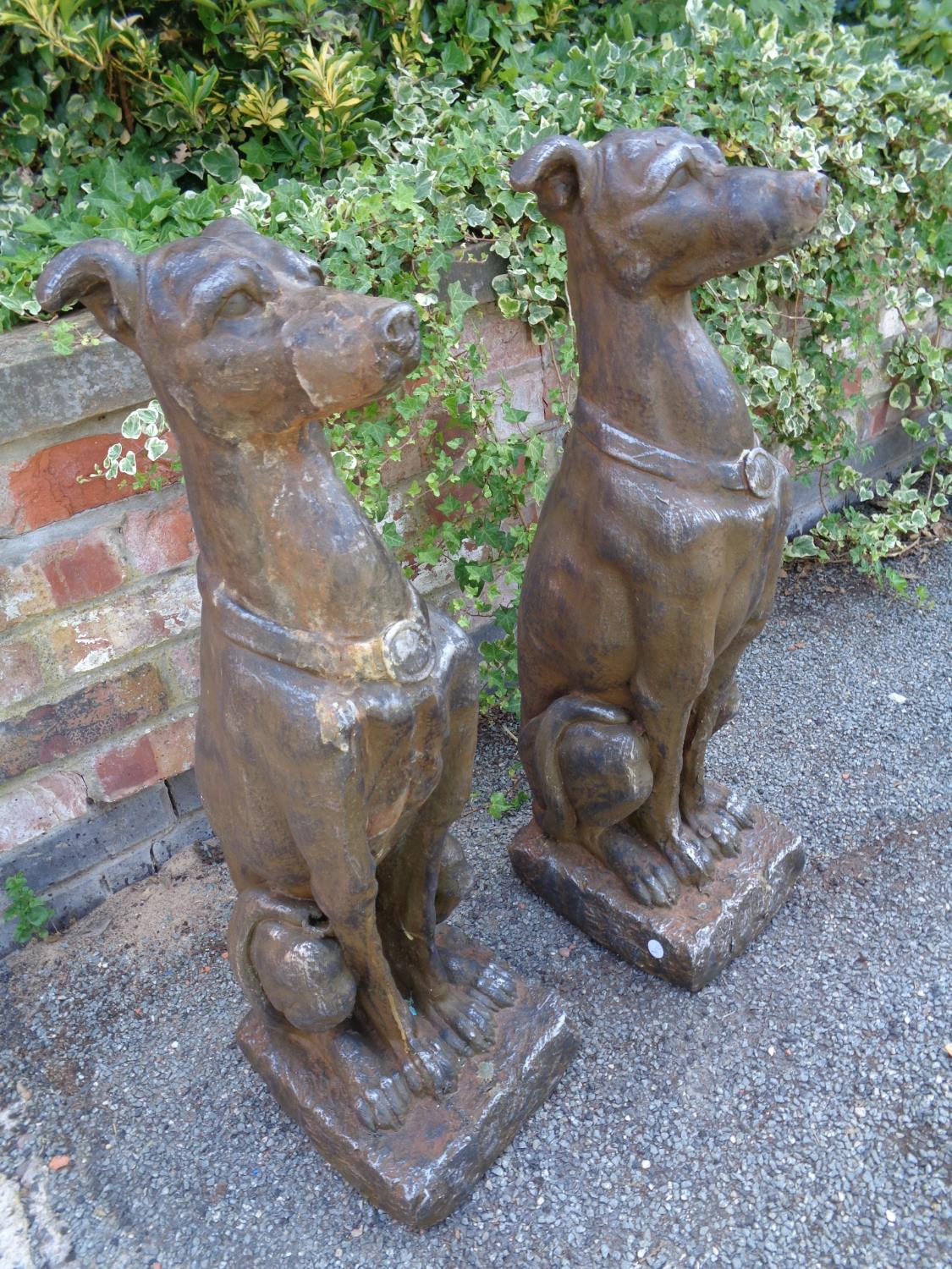 TWO LARGE RESIN TYPE DOG STATUES - Image 3 of 3