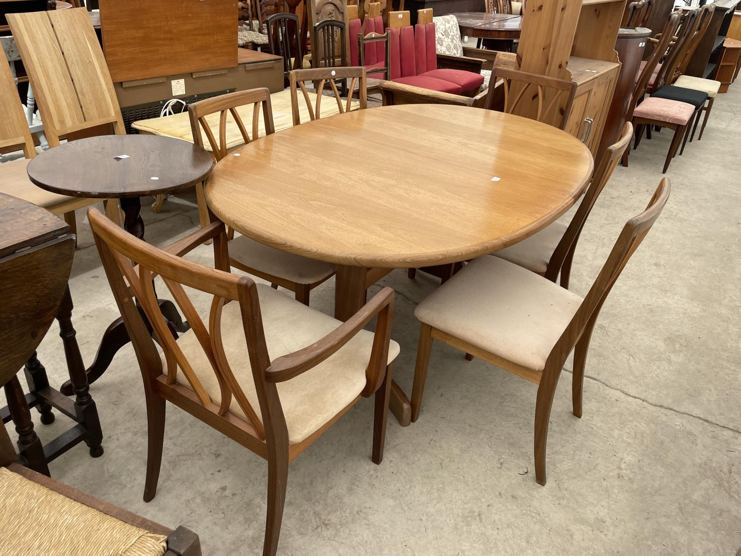 """A RETRO TEAK G-PLAN EXTENDING DINING TABLE, 64X41"""" (EXTRA LEAF 18""""), ON WHALE FIN LEGS, TOGETHER"""