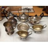 A SELECTION OF SILVER PLATED ITEMS TO INCLUDE TEA POTS, SUGAR BOWL AND TWO FURTHER ITEMS