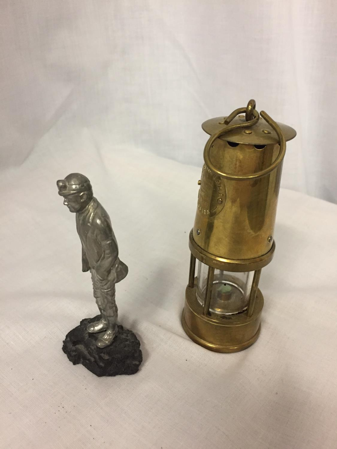A BRASS MINATURE MINERS PROTECTION LAMP ECCLES AND A FIGURE OF A MINER - Image 2 of 3