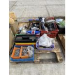 AN ASSORTMENT OF HOUSEHOLD CLEARANCE ITEMS TO INCLUDE TOOLS AND HARDWARE ETC