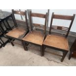 THREE 19TH CENTURY OAK COUNTRY DINING CHAIRS