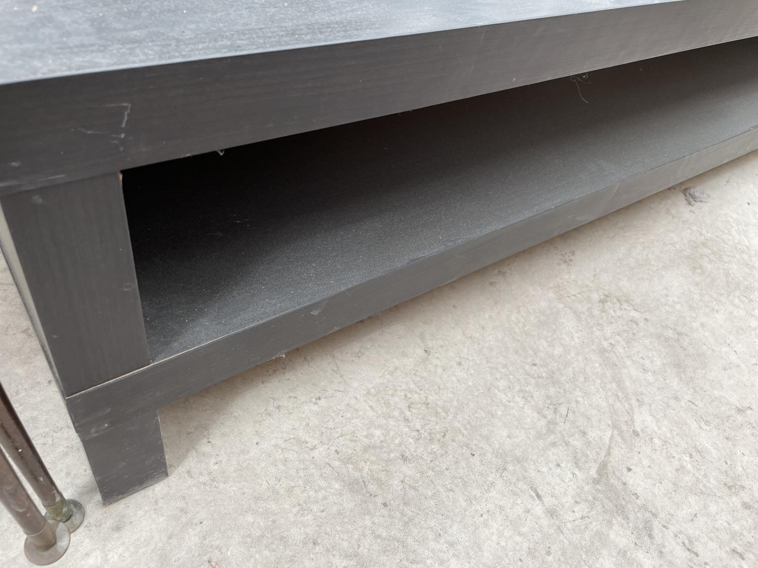 AN IKEA LOW BLACK COFFEE TABLE - Image 3 of 3
