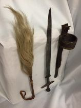 A SWORD IN A LEATHER SHEATH AND A VINTAGE LEATHER HORSE HAIR RIDING CROP