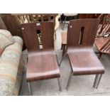 A SET OF SIX BENTWOOD STACKING CHAIRS, ON TUBULAR CHROME FRAME