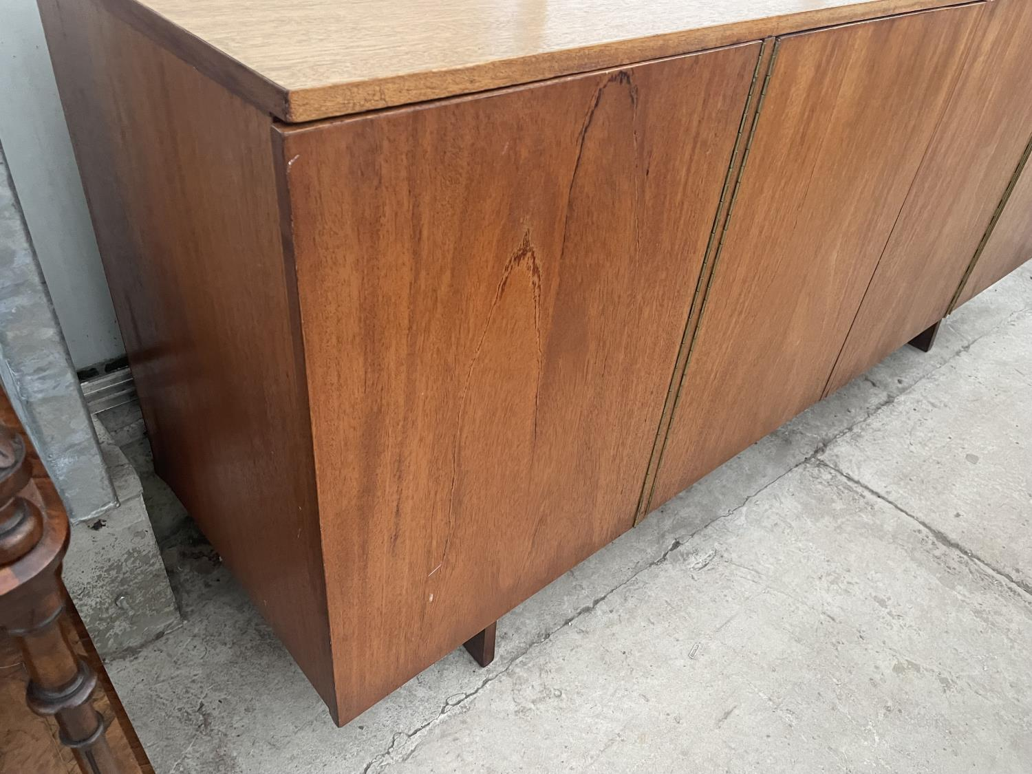 """A RETRO TEAK SIDEBOARD WITH FOUR PUSH RELEASE DOORS, 72"""" WIDE - Image 4 of 8"""