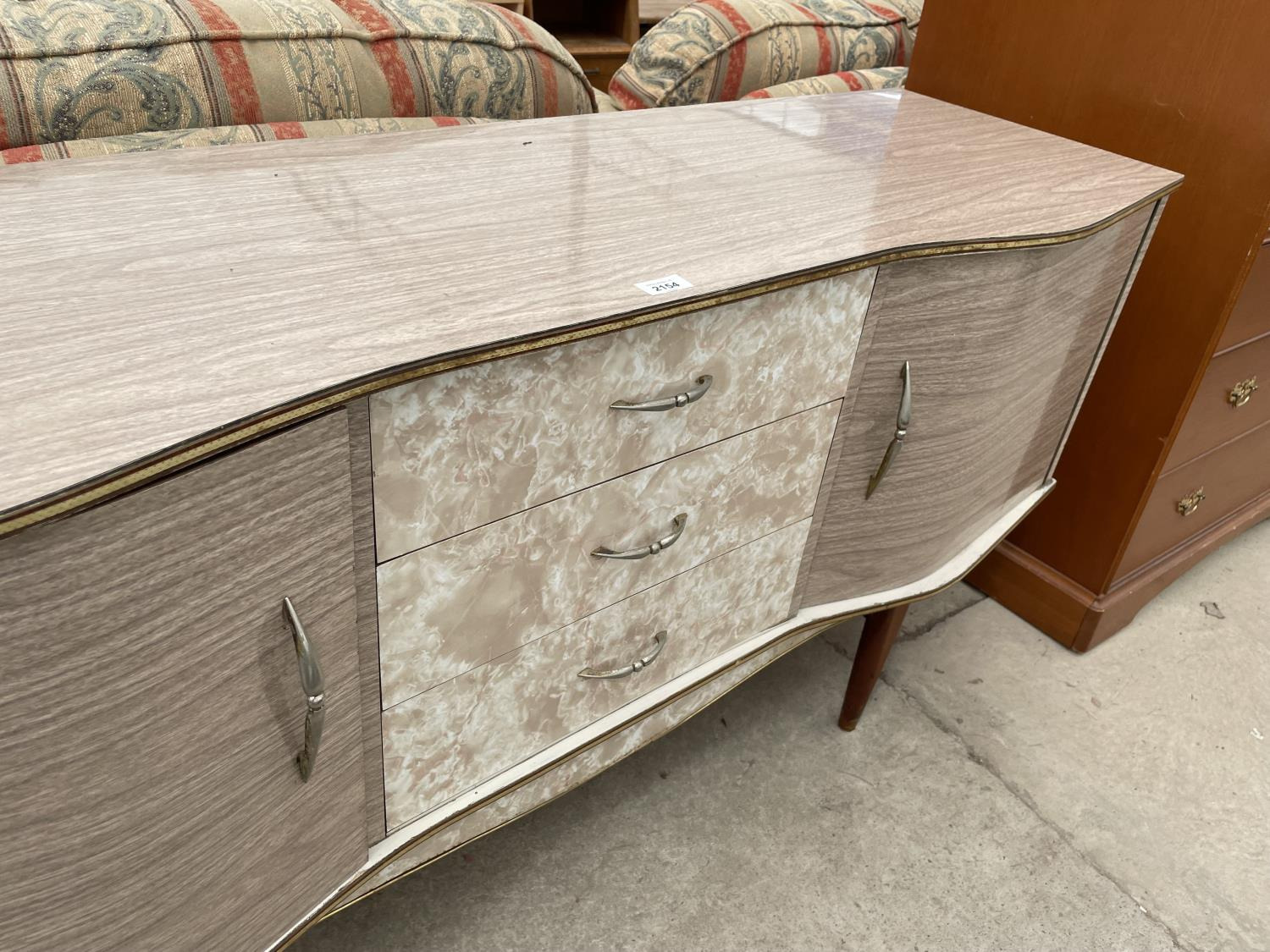 """A MID 20TH CENTURY CREAMY WANUT EFFECT SIDEBOARD, 60"""" WIDE - Image 4 of 5"""