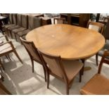 A RETRO TEAK EXTENDING DINING TABLE STAMPED S.FORM (JAMES.H.SUTCLIFFE & SON, LTD) AND FOUR G-PLAN