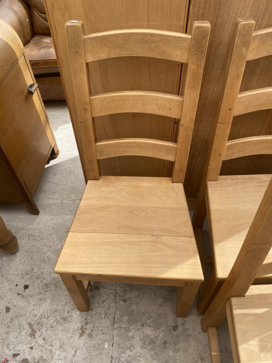 A SET OF SIX PINE LADDER-BACK DINING CHAIRS - Image 5 of 5