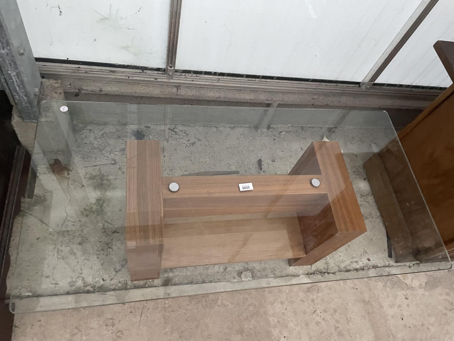 """A MODERN GLASS TOP COFFEE TABLE, 43X22"""" - Image 2 of 4"""