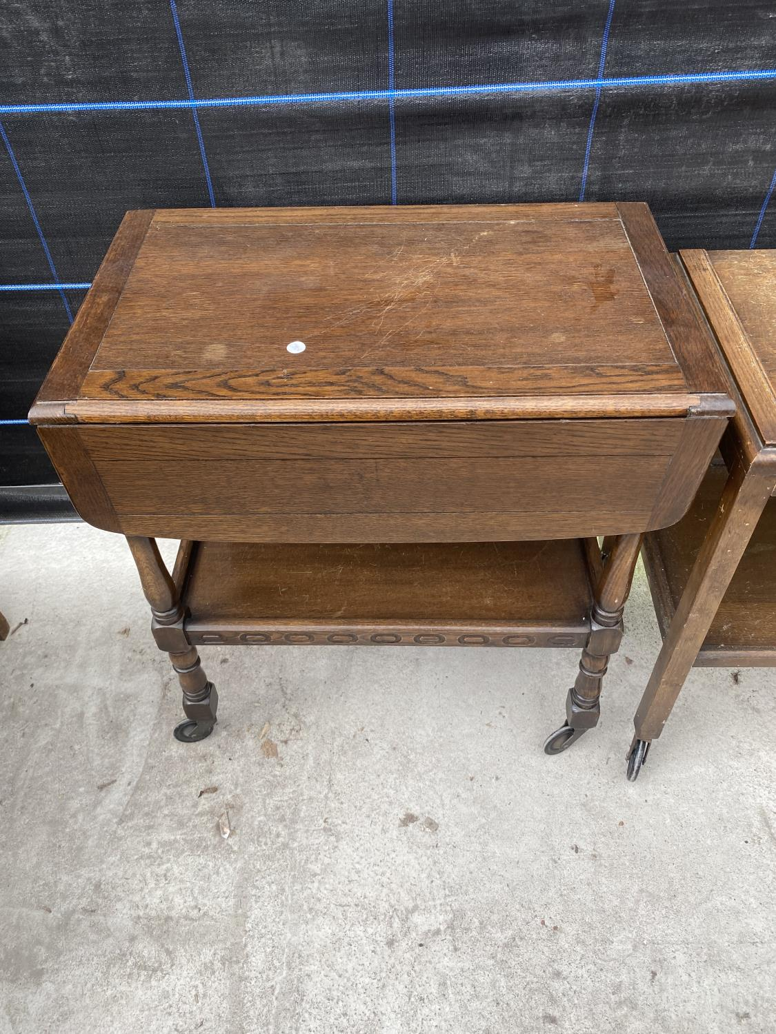 AN OAK 'FLEET FURNITURE' TROLLEY AND ONE OTHER - Image 3 of 4