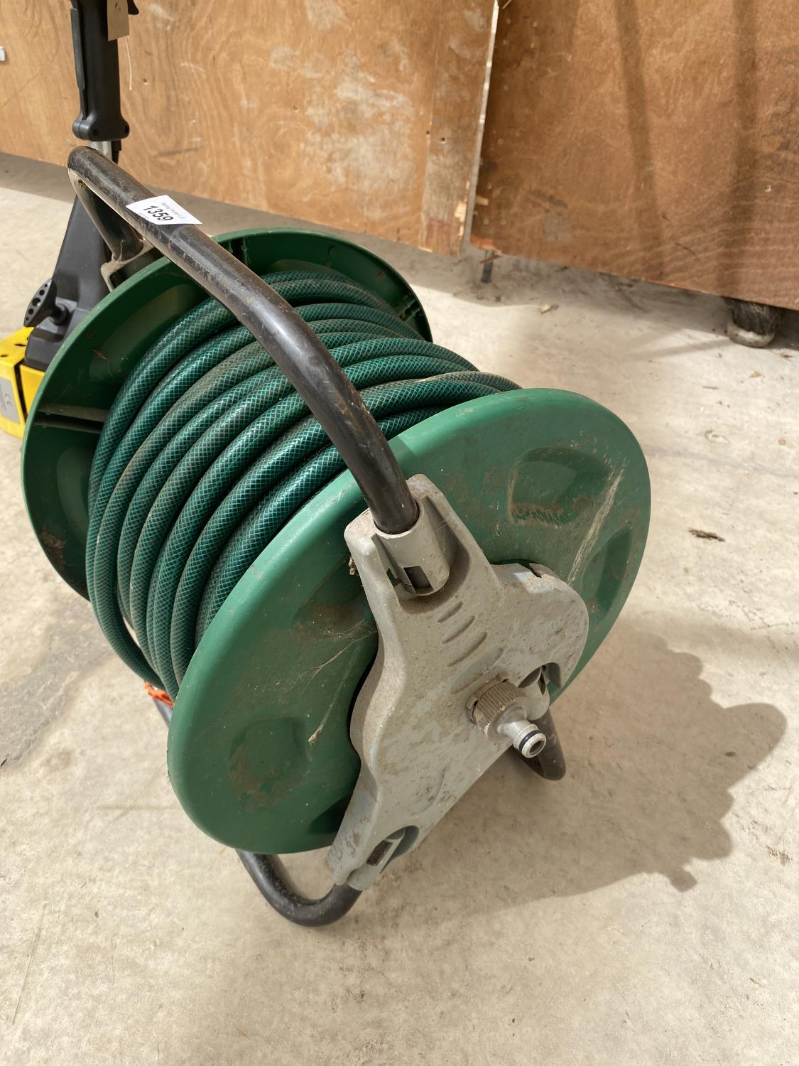 TWO GARDEN RAKES AND A HOSE REEL - Image 2 of 3