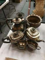A SELECTION OF SILVER PLATED ITEMS. TO INCLUDE TEA POTS, COFFEE POTS, OIL LAMP BASE