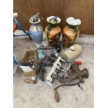 AN ASSORTMENT OF ITEMS TO INCLUDE MEAT MINCERS, HOT WATER BOTTLES AND JUGS ETC