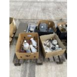 AN ASSORTMENT OF HOUSEHOLD CLEARANCE ITEMS TO INCLUDE CERAMIC FIGURES, AND ELECTRONICS ETC