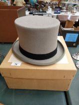 A HERBERT JOHNSON GREY TOP HAT WITH ORIGINAL BOX