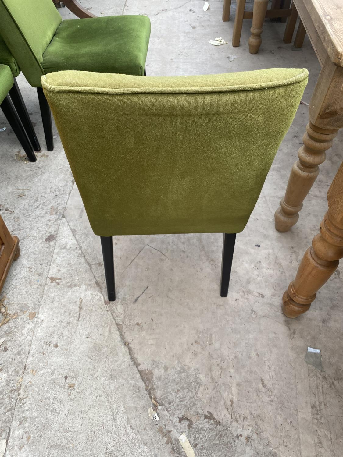 FOUR MID 20TH CENTURY DINING CHAIRS WITH GREEN UPHOLSTERED AND BLACK PAINTED LEGS - Image 3 of 4