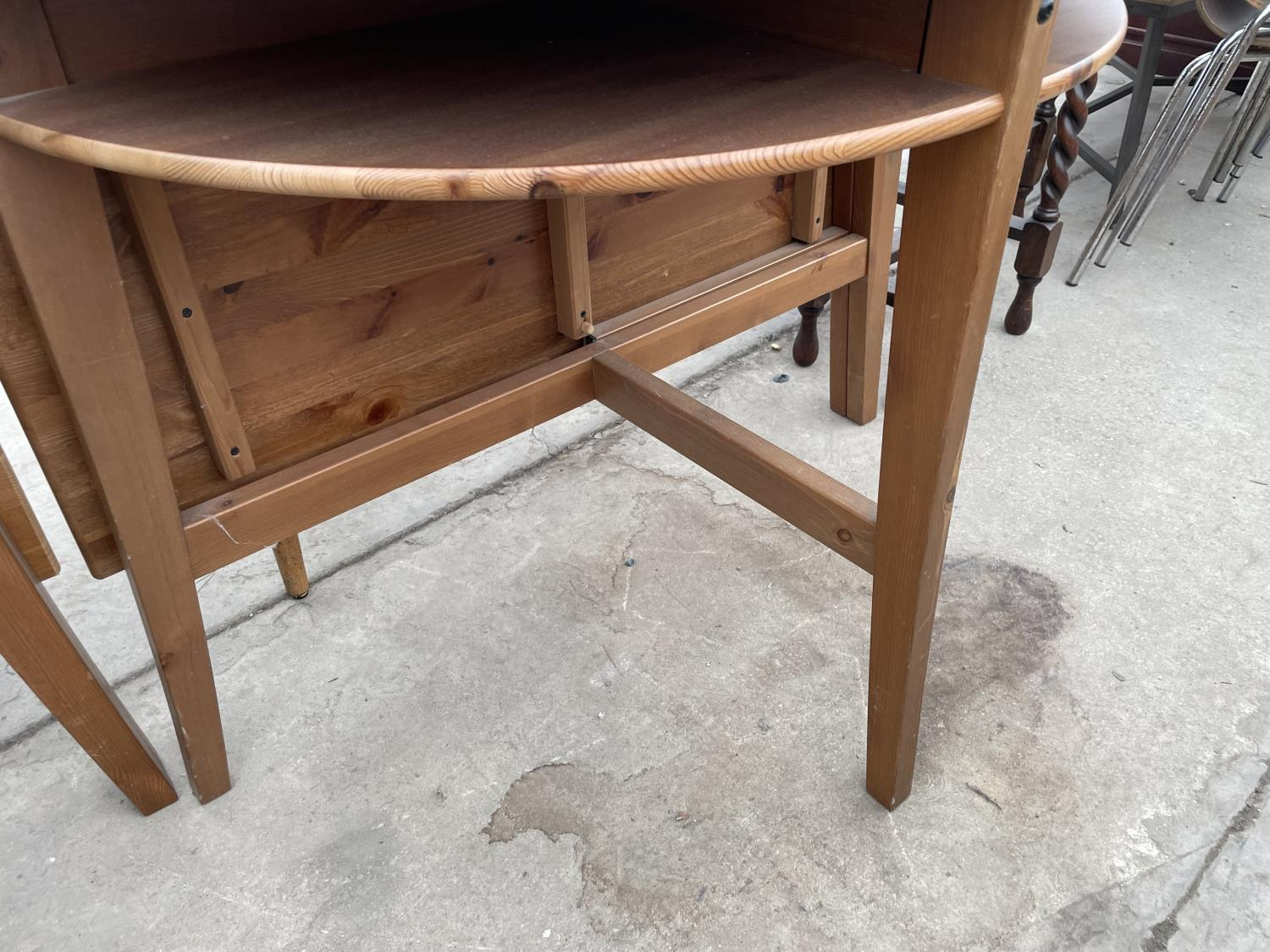 TWO PINE DROP LEAF TABLES - Image 5 of 5