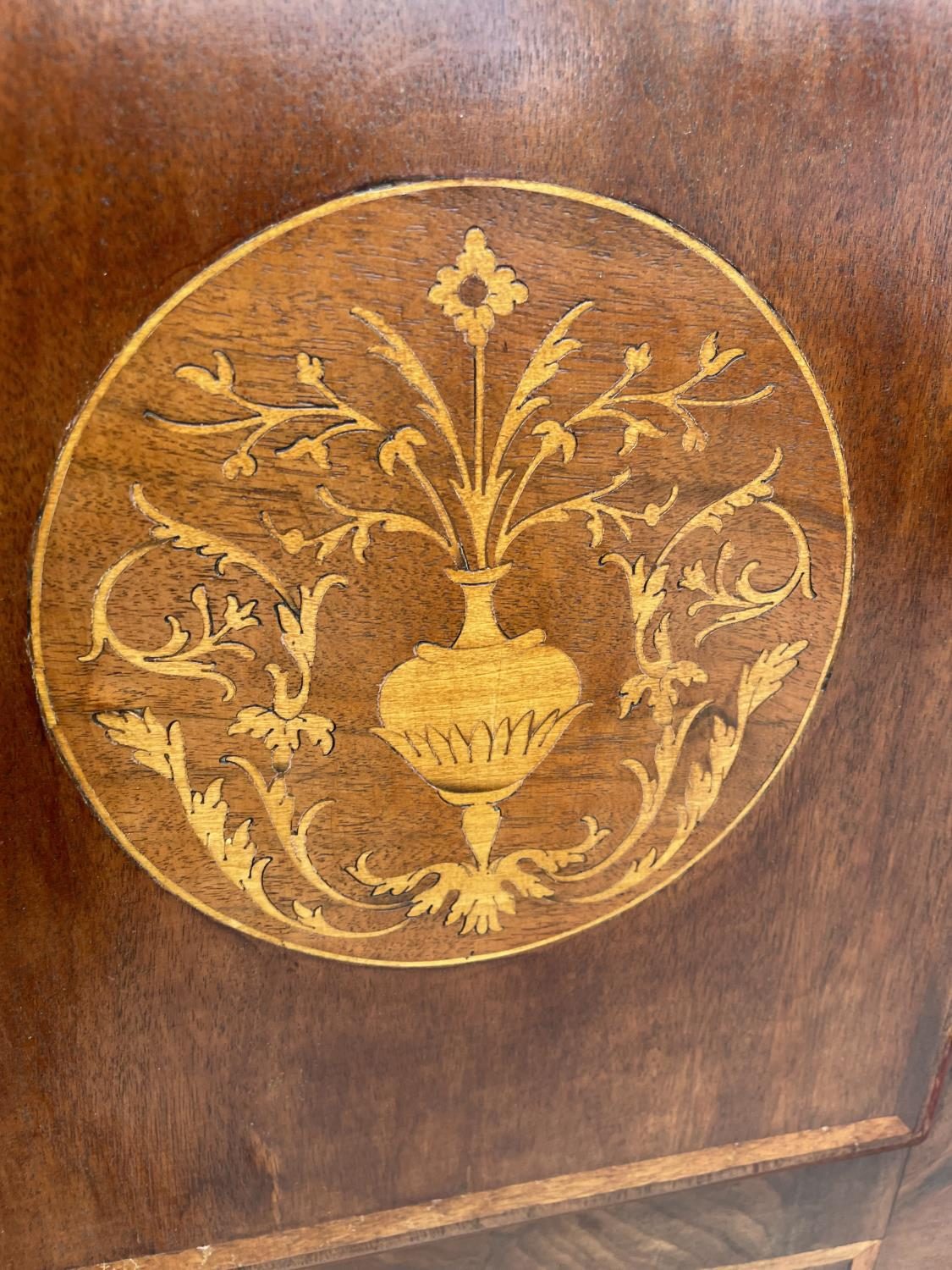 A 19TH CENTURY AND LATER EIGHT DAY MAHOGANY AND INLAID LONGCASE CLOCK WITH ENAMEL DIAL (GROUNDS, - Image 6 of 8