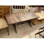 A MAHOGANY AND INLAID DROP-LEAF COFFEE TABLE
