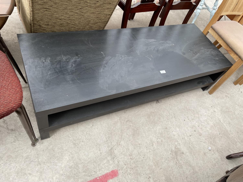 AN IKEA LOW BLACK COFFEE TABLE